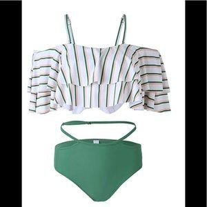 Off Shoulder Ruffled Flounce Bikini